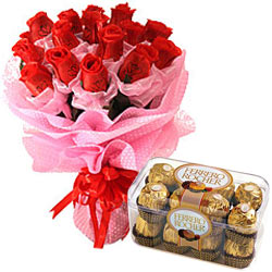 Long Lasting � Red Roses Bouquet with  Ferrero Roc... to Tiruvallur