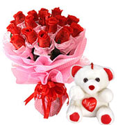 Long Lasting � Red Roses Bouquet with Teddy to Gurgaon