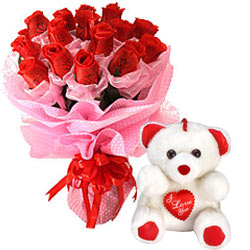 Long Lasting � Red Roses Bouquet with Teddy to Tiruvallur