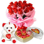 Long Lasting � Red Roses Bouquet with Teddy Bear  and Heart shape Chocolate Box  to Gurgaon