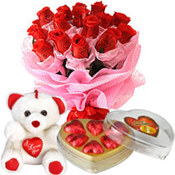 Long Lasting � Red Roses Bouquet with Teddy Bear  ... to Tiruvallur