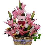 Exquisite Basket of Pink Long Lasting Flowers with Pink Teddy to Gurgaon