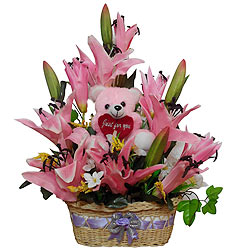 Exquisite Basket of Pink Long Lasting Flowers with... to Raipur