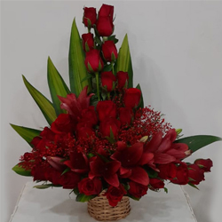 Striking Arrangement of Red Roses N Lilies to Amaraoti