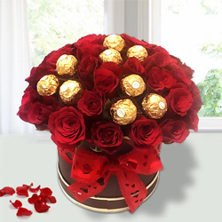 Remarkable Red Roses N Ferrero Rocher in Flower Bucket to Anjar