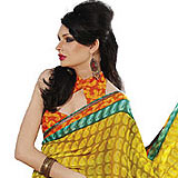 Pleasant Yellow Faux Georgette Saree to Udaipur