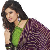 Trendy Purple and Green Faux Georgette Saree to Udaipur