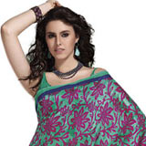 Pretty Green and Magenta Faux Georgette Saree to Apparels_for_her.asp