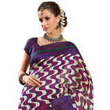 Stylish Purple and White Art Silk Saree to Patalganga