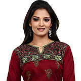 Pleasing Red Crepe Silk Kurti