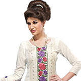 Flower Designed White Party Wear Camric Top Salwar from Febdeal