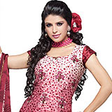 Pink Magnificent with Embroidered Crepe Jacquard Salwar Suit to Padi