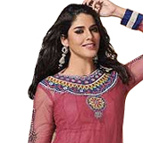 Beauty Defined with Pink Faux Georgette Salwar Suit from Praful to Bangalore