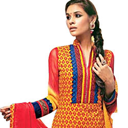 Gorgeous Red and Yellow Cotton Printed Unstitched Salwar Suit to Aleppy