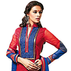 Amazing Red and Blue Cotton Printed Unstitched Salwar Suit to Tirunelveli