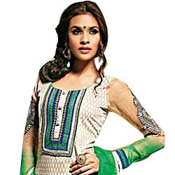 Splendid Beige and Green Cotton Printed Unstitched Salwar Suit to Athani