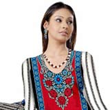 Ideal Red and Blue Crepe Unstitched Salwar Suit to Gurgaon
