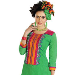 Gorgeous Cotton Printed Green Salwar Suit to Chandigarh