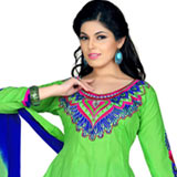 Dazzling Cotton Embroidered Salwar Suit in Vibrant Green and Blue Colour to Purulia
