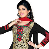 Fascinating Black and Red Coloured Cotton Salwar Suit to Purulia