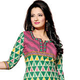 Arresting Green and Pink Coloured Pure Cotton Printed Salwar Suit to Muzzafarnagar