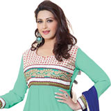Sensational Turquoise Coloured Semi Stitched Georgette Salwar Suit to Chandigarh
