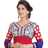 Trendsetting Semi Stitched Georgette Salwar Suit in Red to Purulia
