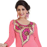 Wonderfully Coloured in Pink Semi Stitched Georgette Salwar to Porbandar
