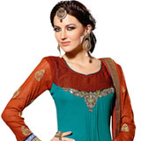 Enticing Blue and Chocolate Coloured Georgette Salwar Suit with Red Naznin Dupatta to Purulia