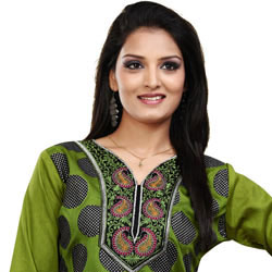 Green Printed Kurti in Crepe Silk to Gorakhpur