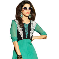 Gaudy Turquoise Green Coloured Georgette Embroidered Kurti to Balkum