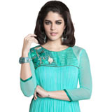 Georgette Embroidered Kurti (Turquoise Blue) to Puzhal