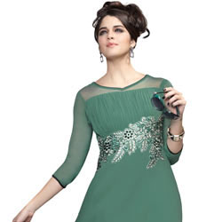 Impressionable Georgette Embroidered Kurti in Pastel Green to Varanasi