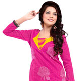 Designer Pink and Yellow Shaded Embroidered Salwar Kameez to Purulia