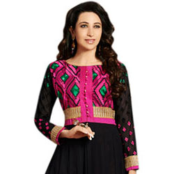 Beautiful Embroidered Anarkali Salwar Kameez in Black and Pink to Bangalore