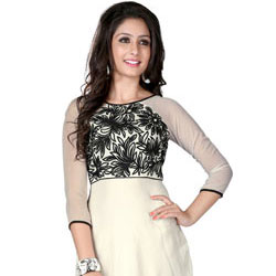 Exclusive Georgette Embroidered Kurti Shaded in White and Black to Anand