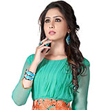 Flattering Georgette Embroidered Kurti Coloured in Turquoise to Bangalore