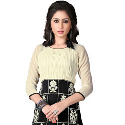 Arresting Beige and Black Coloured Georgette Embroidered Kurti to Bhadrawati