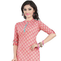 Classic Cambric Cotton Printed Kurti in Pink Colour to Belapur Road