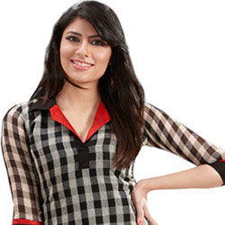 Embellished Glaze Linen Checks Kurti to Ahmadnagar