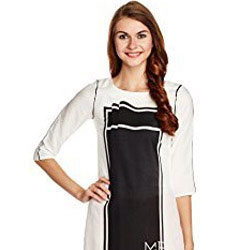 Beauteous Black and White Kurti by W to Ankleshwar