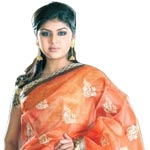 Fashionable Two Toned Organza Silk Saree to Hyderabad