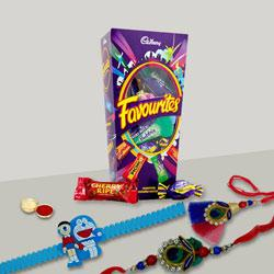 Pleasurable Bhaiya Bhabhi Rakhi with Doremon Kid Rakhi with Mix Cadbury Chocolates to Rakhi_to_australia.asp