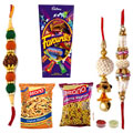 Stunning Set of One Single Rakhi , Bhaiya Bhabhi Rakhi ,Gujrati Mixture ,Khatta Mitha ,Mix Cadbury Chocolates to Rakhi_to_australia.asp