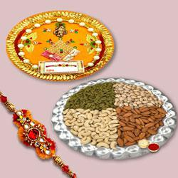 Gorgeous Thread Rakhi With Dry Fruits, Traditional Puja Thali, Set Of Roli Chaval to Rakhi_to_australia.asp