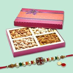 Beauteous Bandhan Rakhi With Mix Dry Fruits, Set Of Roli Chaval to Rakhi_to_australia.asp