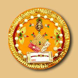 Beautiful Divine Rakhi N Traditional Thali Combo to Rakhi_to_australia.asp