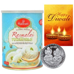 Luscious Rasmalai With Silver Plated Coin And Diwali Card to Diwali_canada.asp