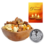 Healthy Mix Dry Fruits With Silver Plated Coin And Diwali Card to Diwali_canada.asp
