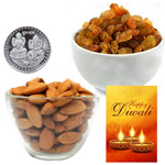 Nutrient Almonds And Raisin With Silver Plated Coin And Diwali Card to Diwali_canada.asp